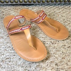 Hollister Faux Leather Embroidered Sandal